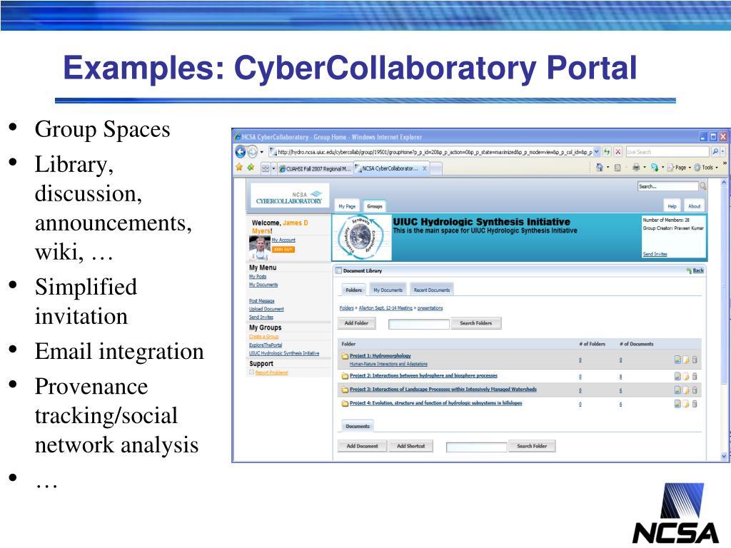 Examples: CyberCollaboratory Portal