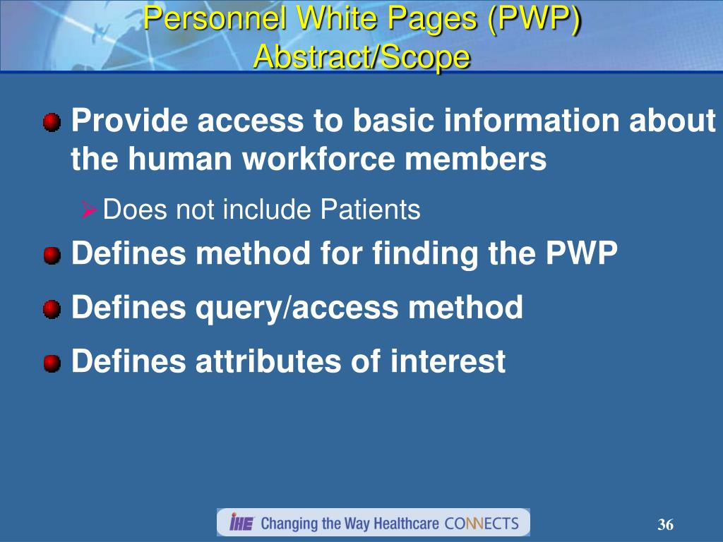 Personnel White Pages (PWP) Abstract/Scope