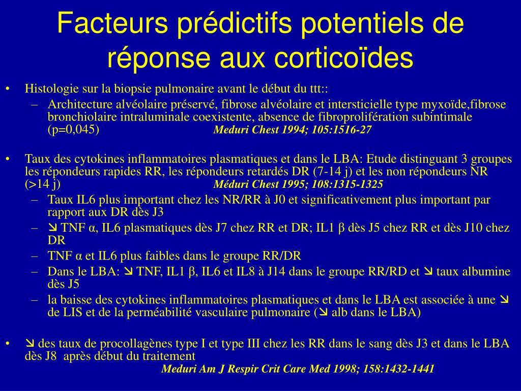 Facteurs prédictifs potentiels de réponse aux corticoïdes