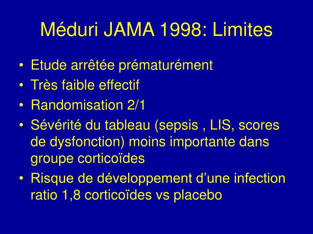 Méduri JAMA 1998: Limites