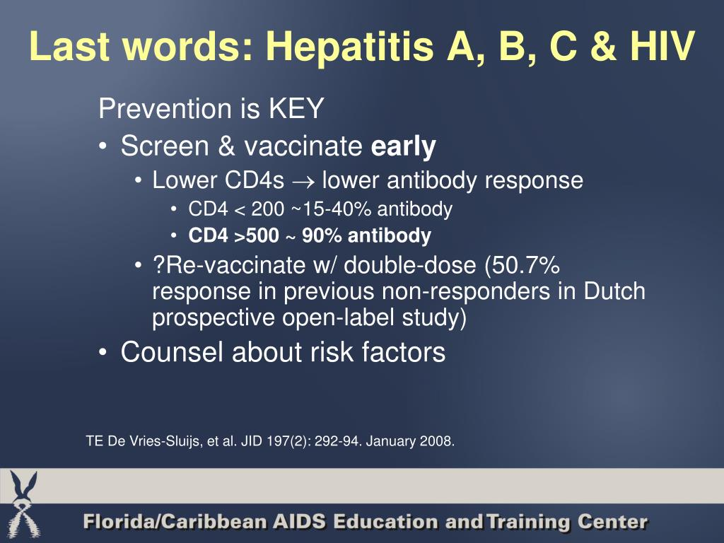 Last words: Hepatitis A, B, C & HIV