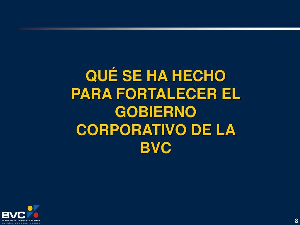 QUÉ SE HA HECHO PARA FORTALECER EL GOBIERNO CORPORATIVO DE LA BVC