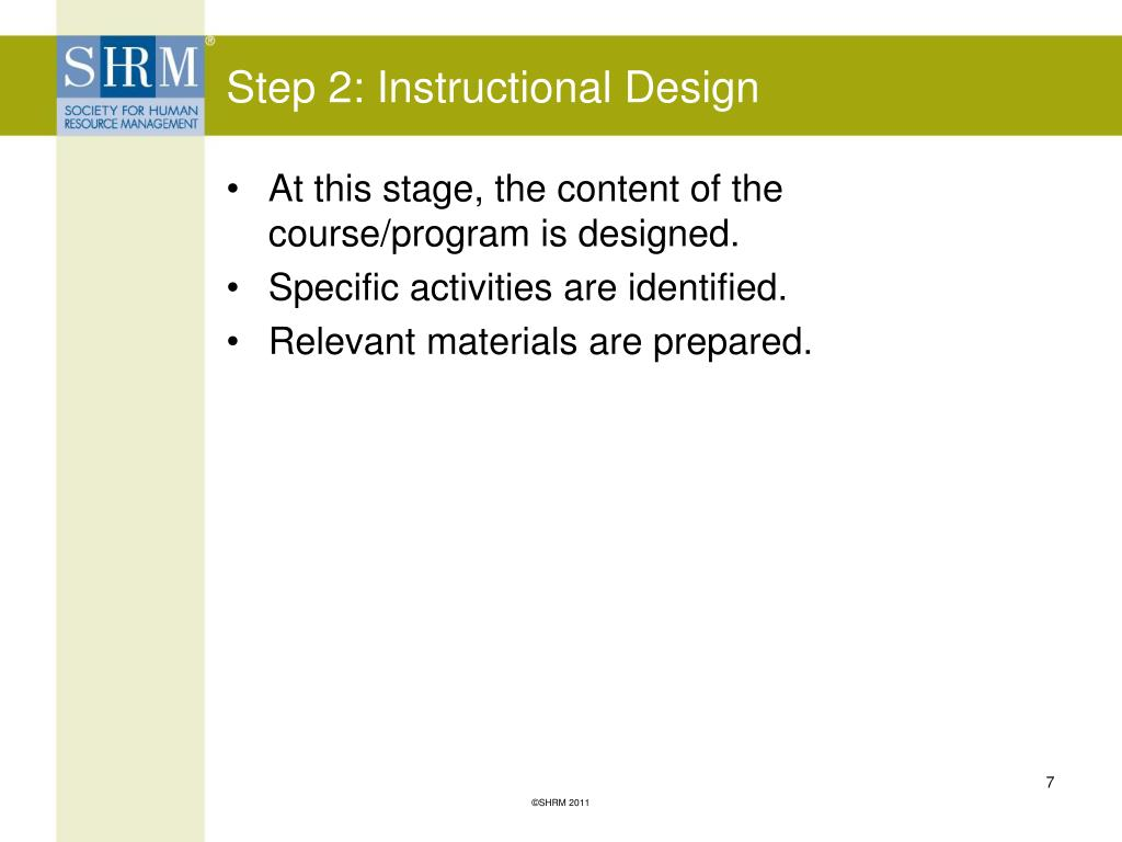 Step 2: Instructional Design