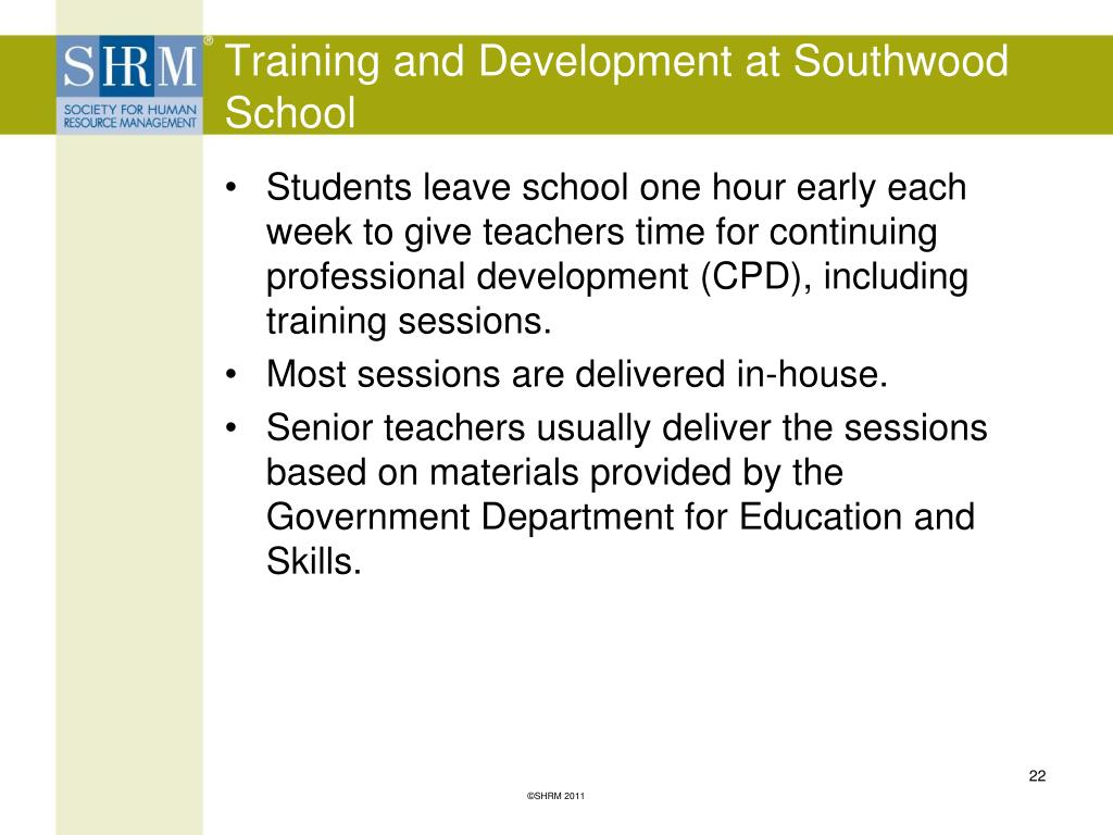 Training and Development at Southwood School