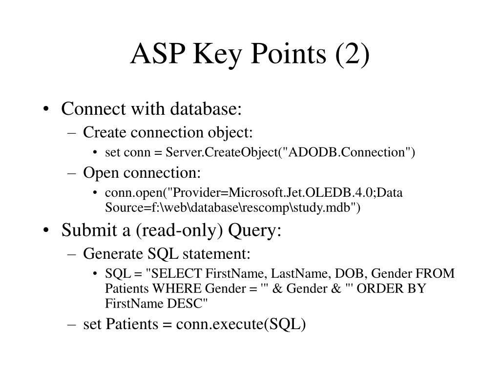 ASP Key Points (2)