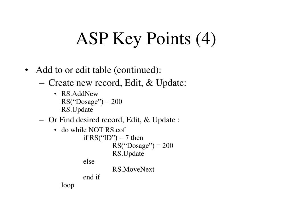ASP Key Points (4)