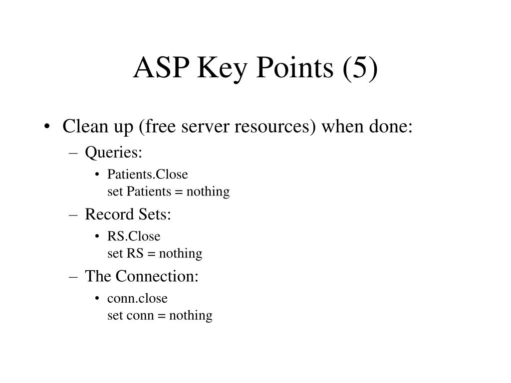 ASP Key Points (5)