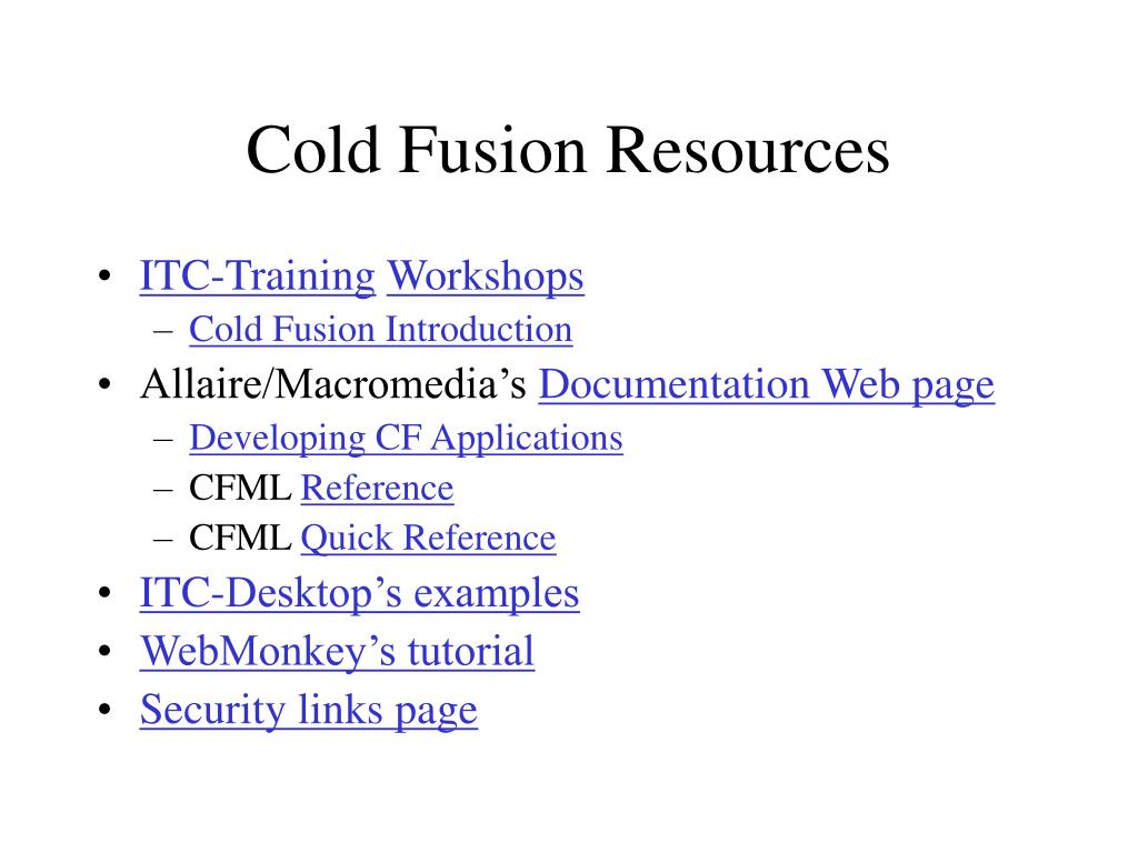 Cold Fusion Resources
