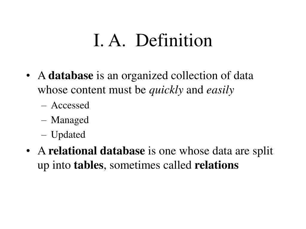 I. A.  Definition