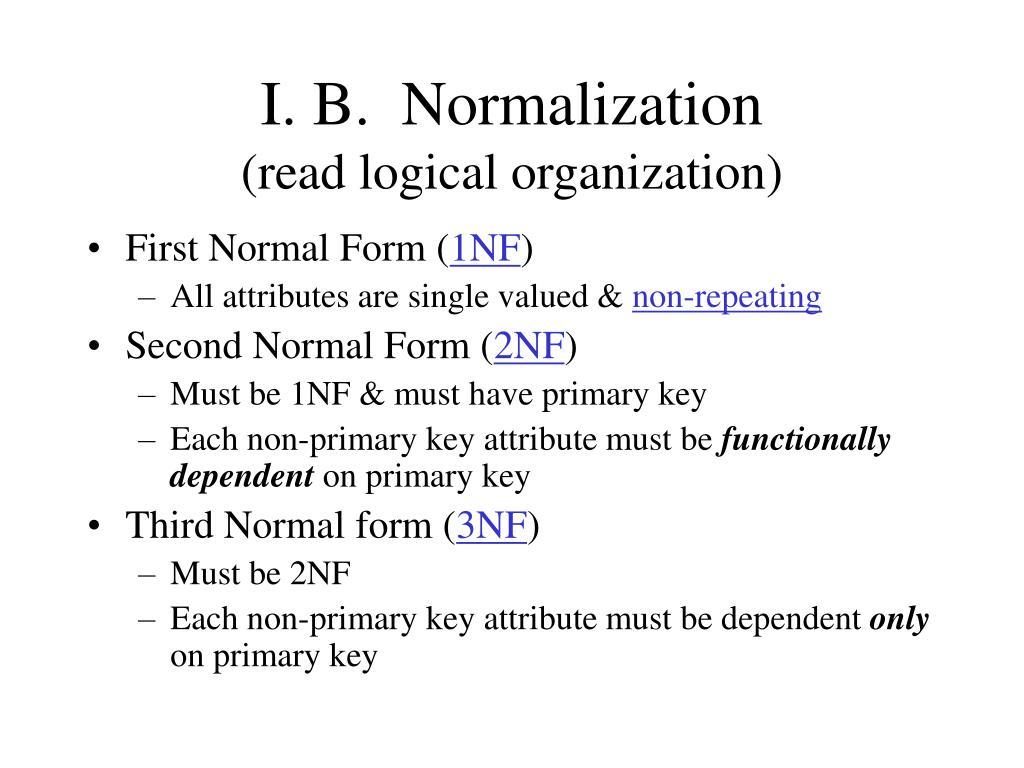 I. B.  Normalization