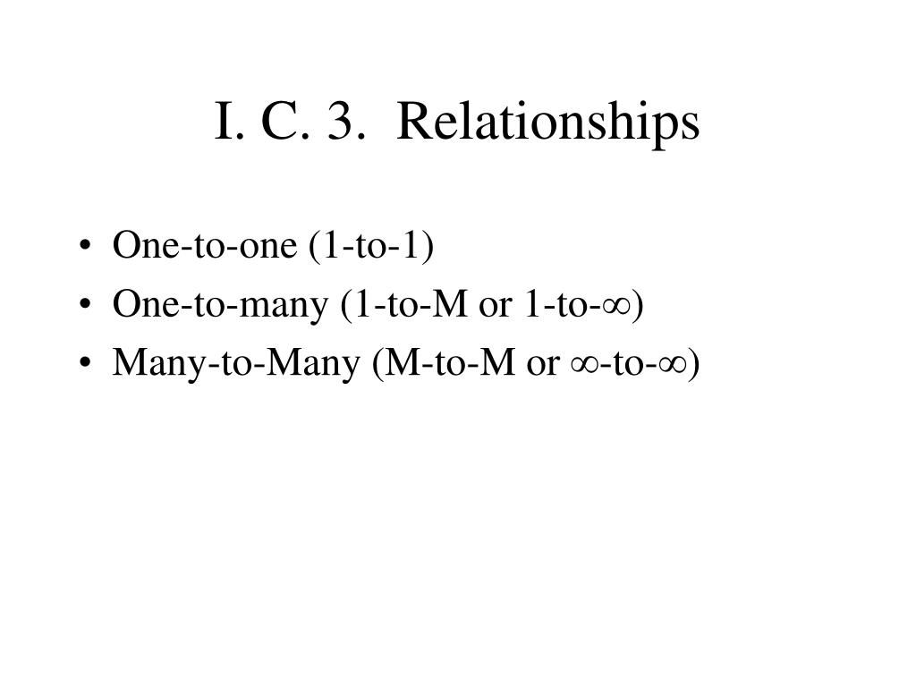 I. C. 3.  Relationships