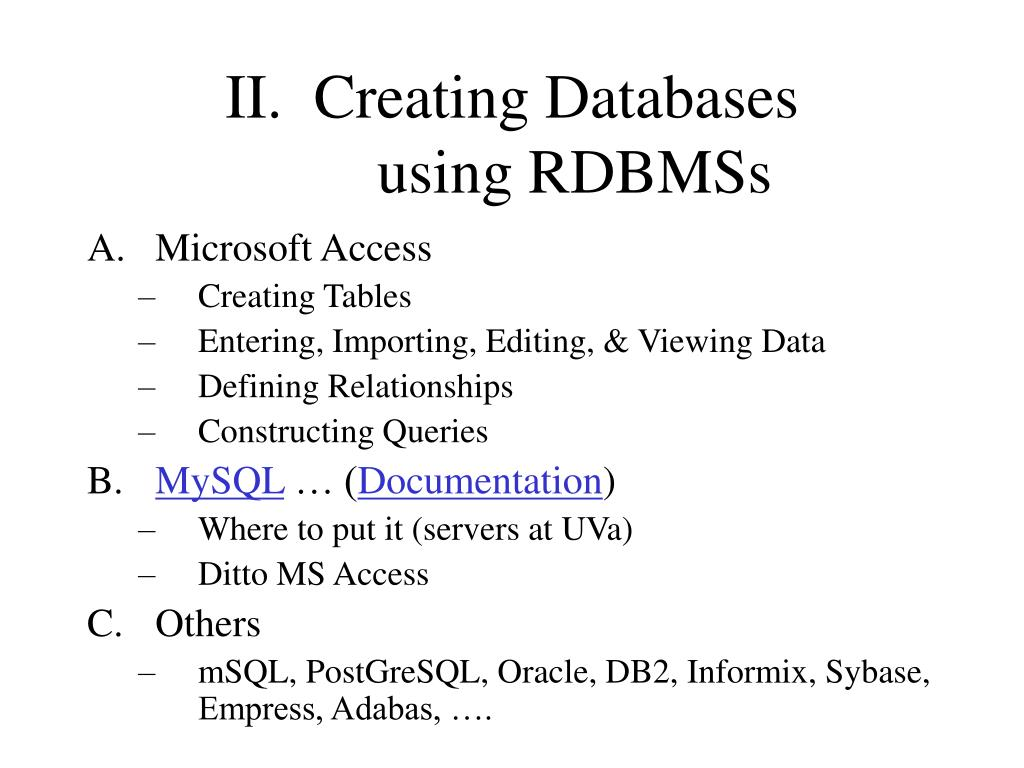 II.  Creating Databases