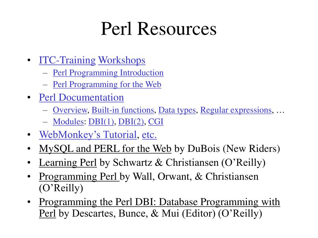 Perl Resources