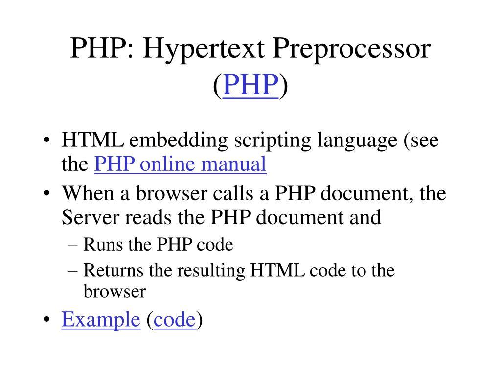 PHP: Hypertext Preprocessor (