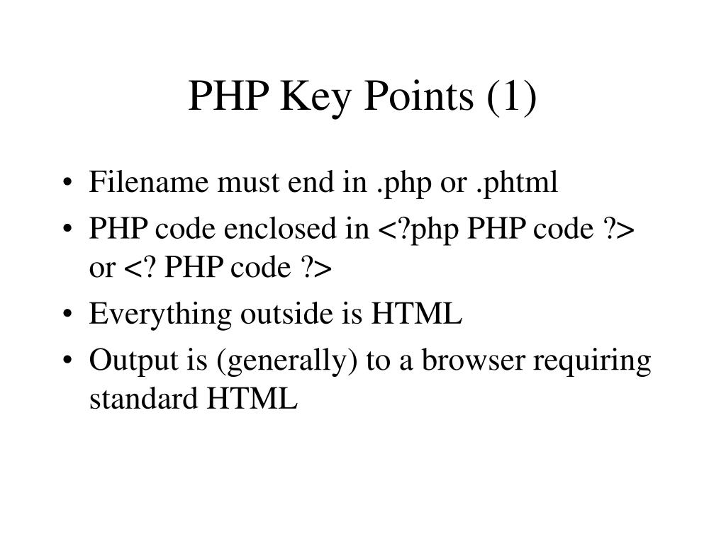 PHP Key Points (1)