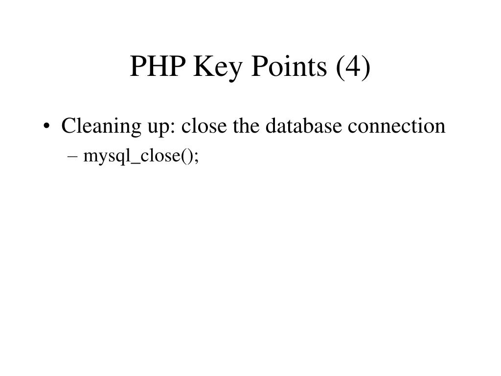 PHP Key Points (4)