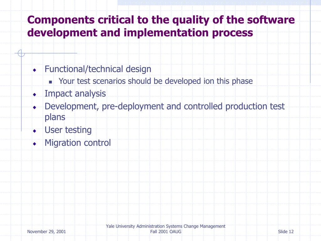 Components critical to the quality of the software development and implementation process