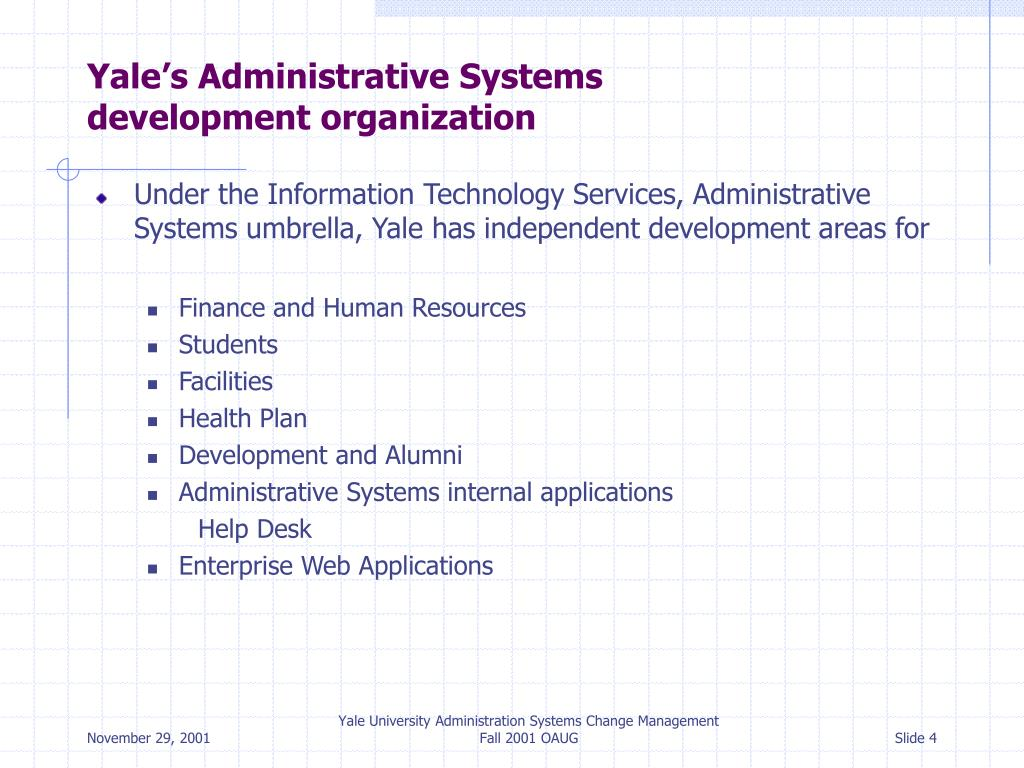 Yale's Administrative Systems