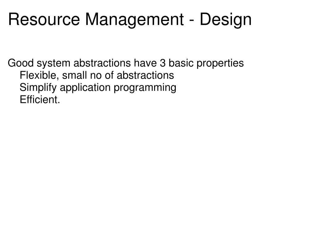 Resource Management - Design