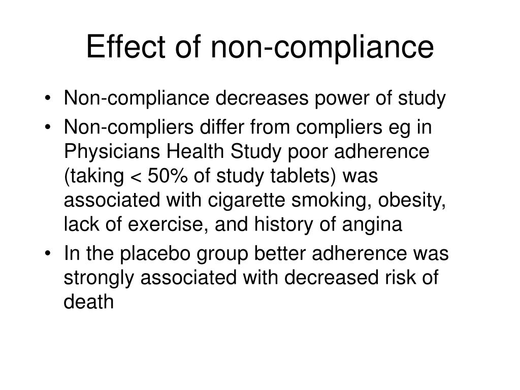 Effect of non-compliance