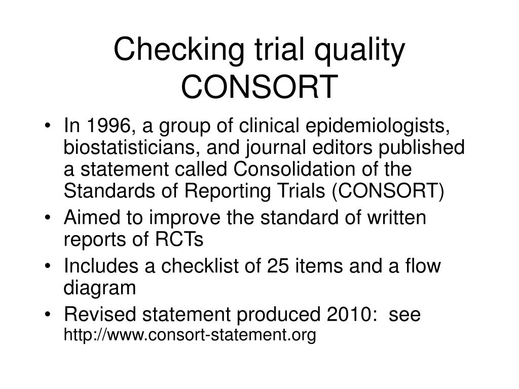 Checking trial quality CONSORT