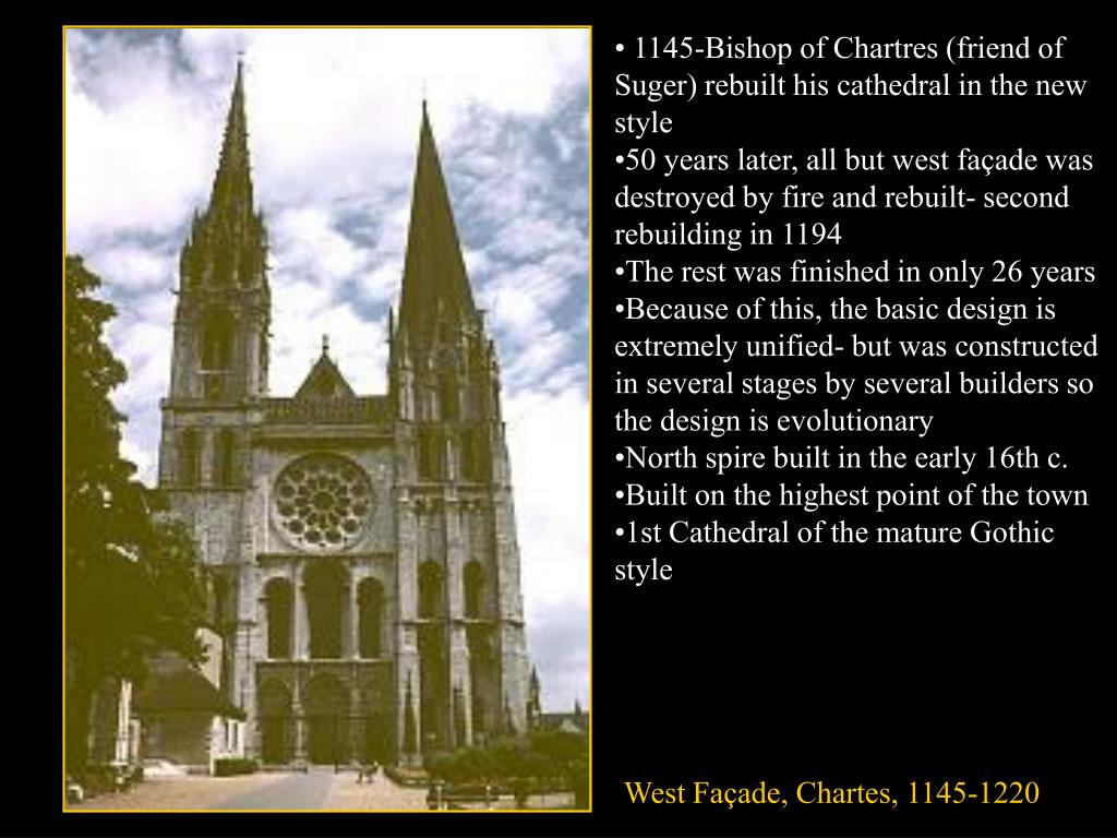 1145-Bishop of Chartres (friend of Suger) rebuilt his cathedral in the new style