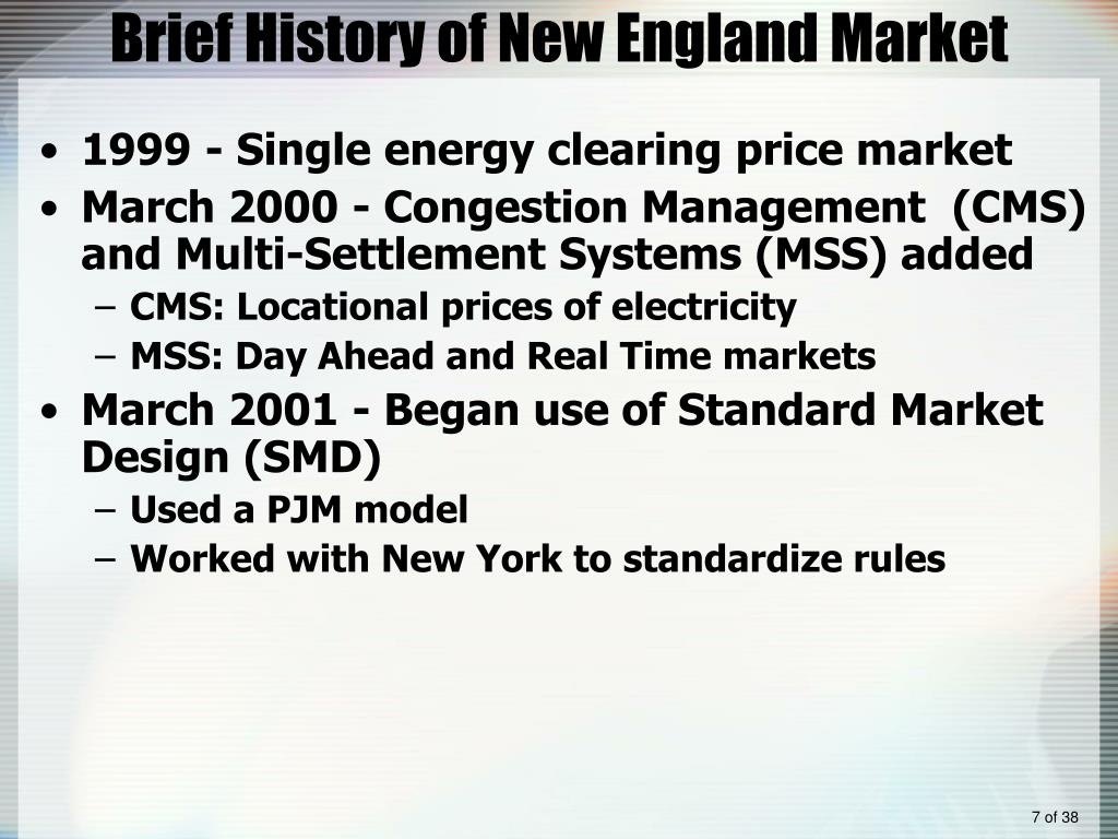 Brief History of New England Market