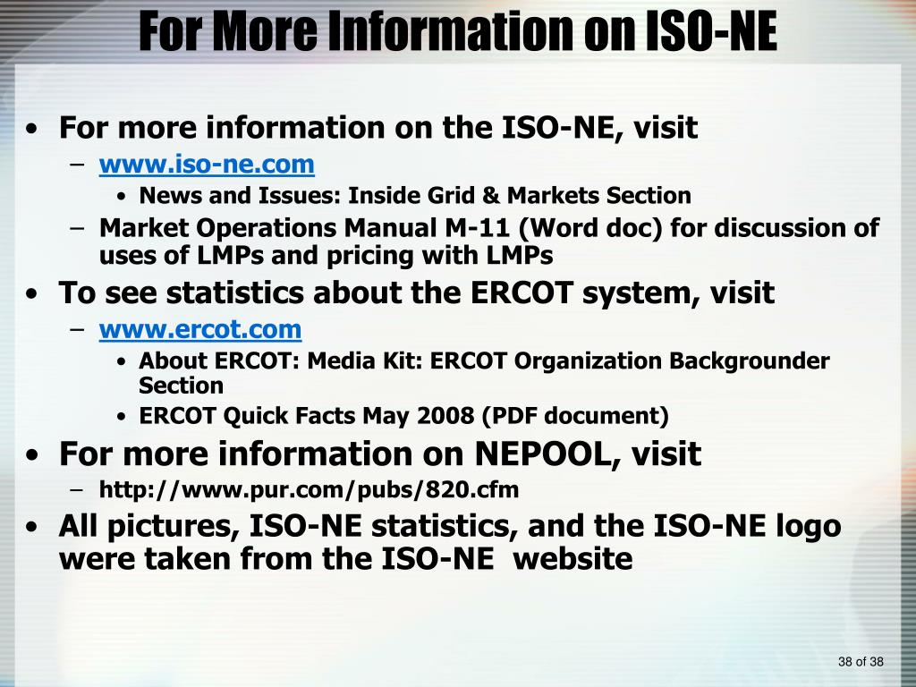 For More Information on ISO-NE