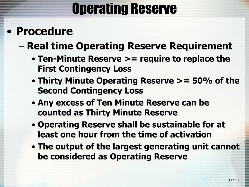 Operating Reserve