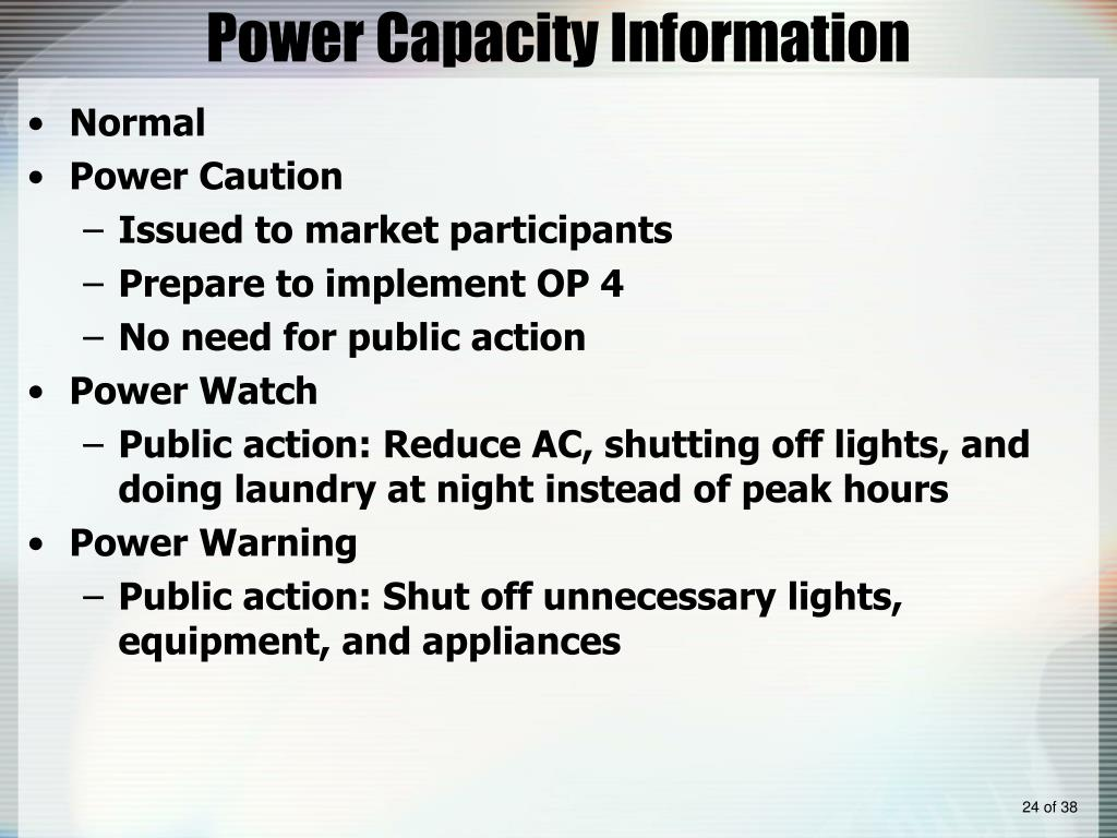 Power Capacity Information