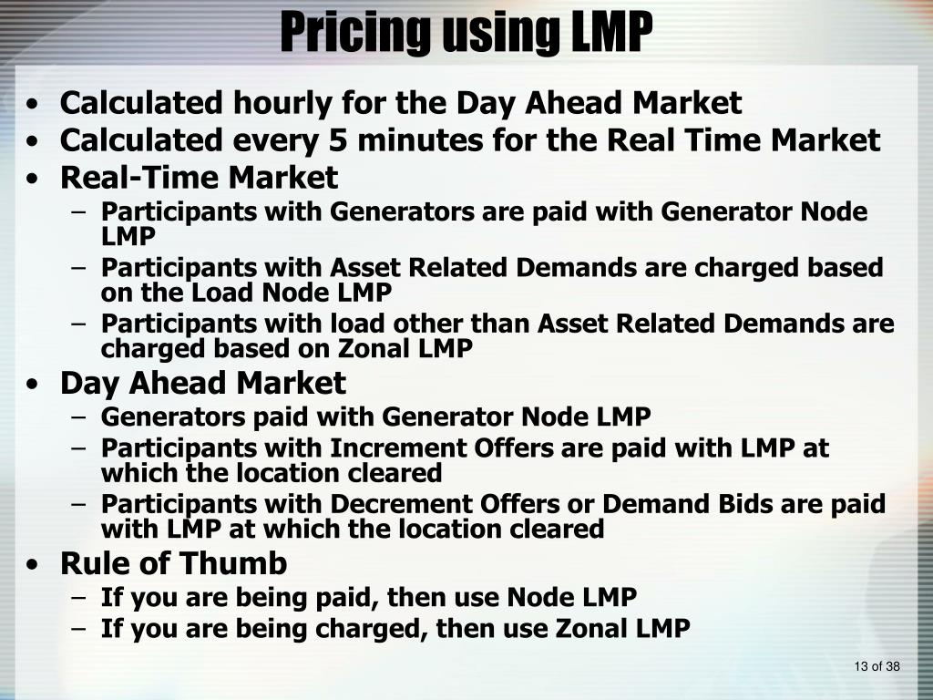 Pricing using LMP