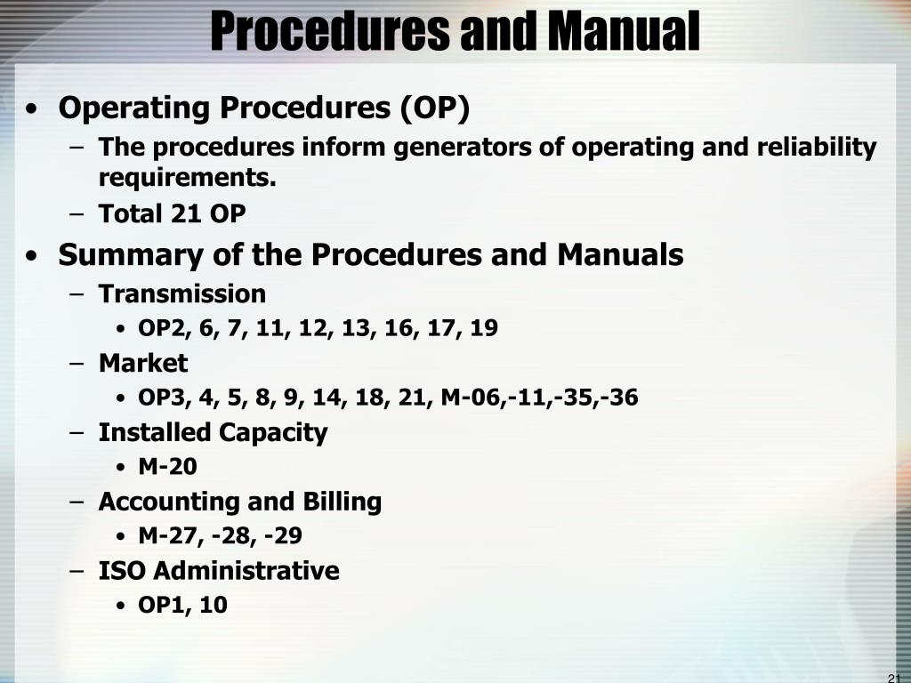 Procedures and Manual