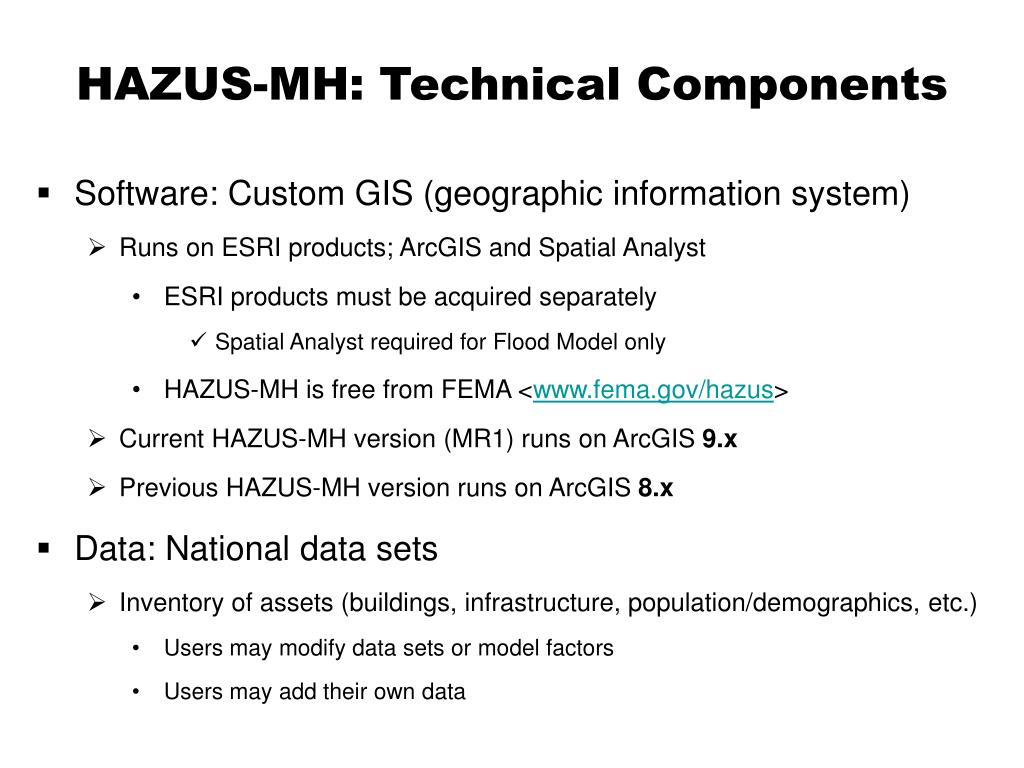 HAZUS-MH: Technical Components