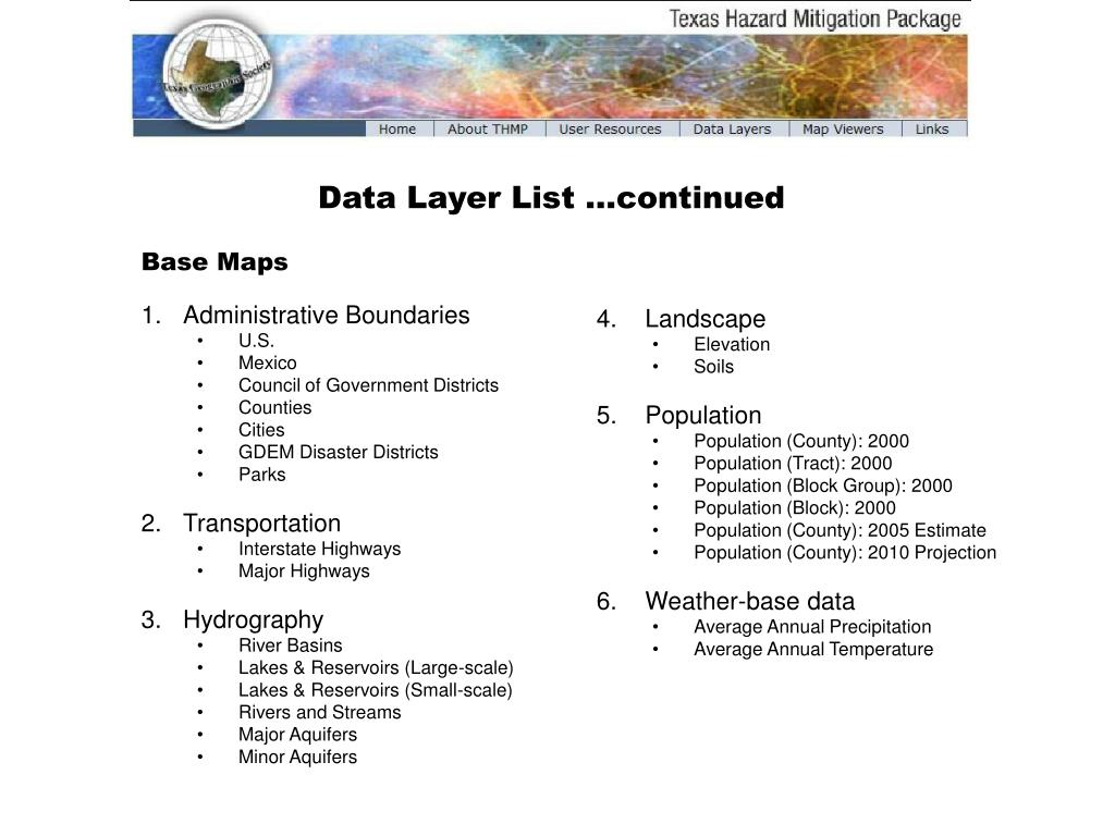 Data Layer List …continued
