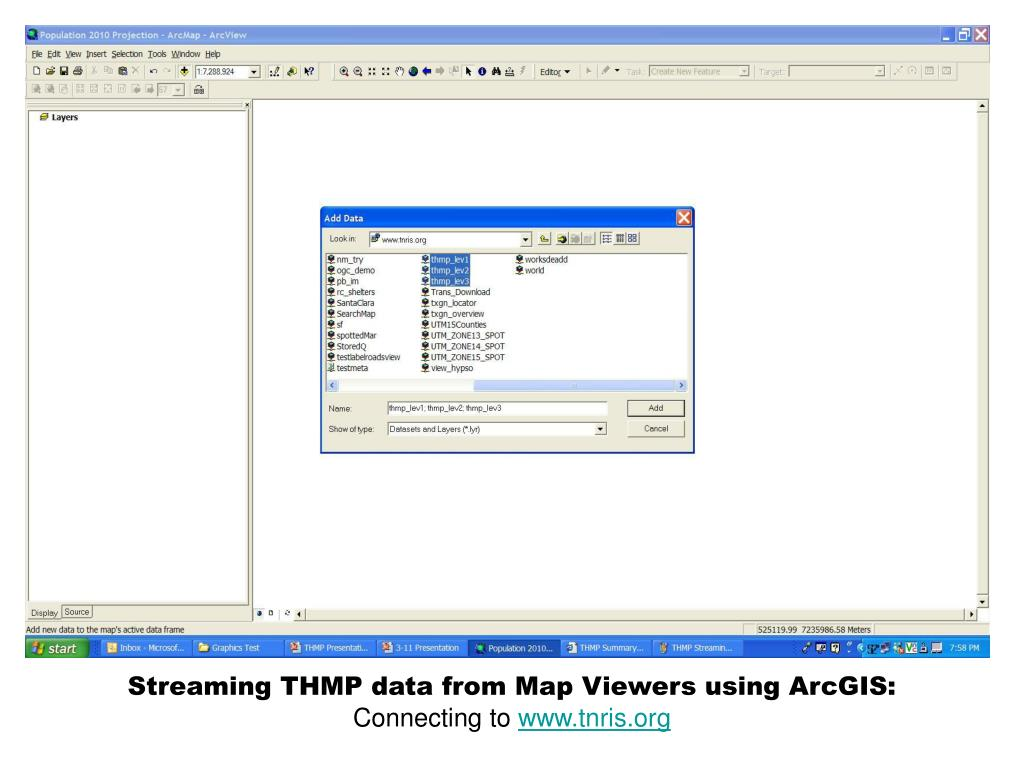 Streaming THMP data from Map Viewers using ArcGIS: