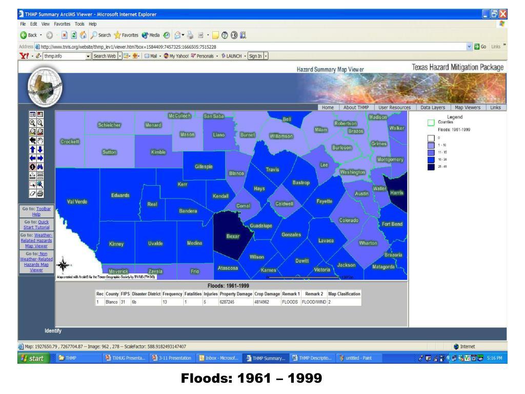 Floods: 1961 – 1999