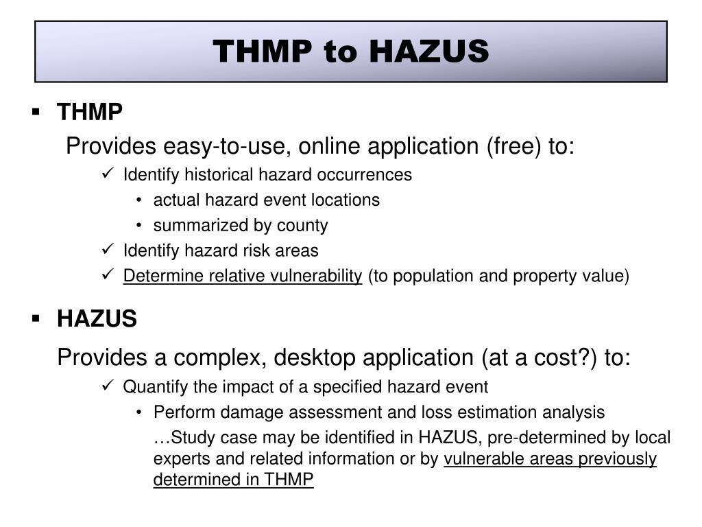 THMP to HAZUS