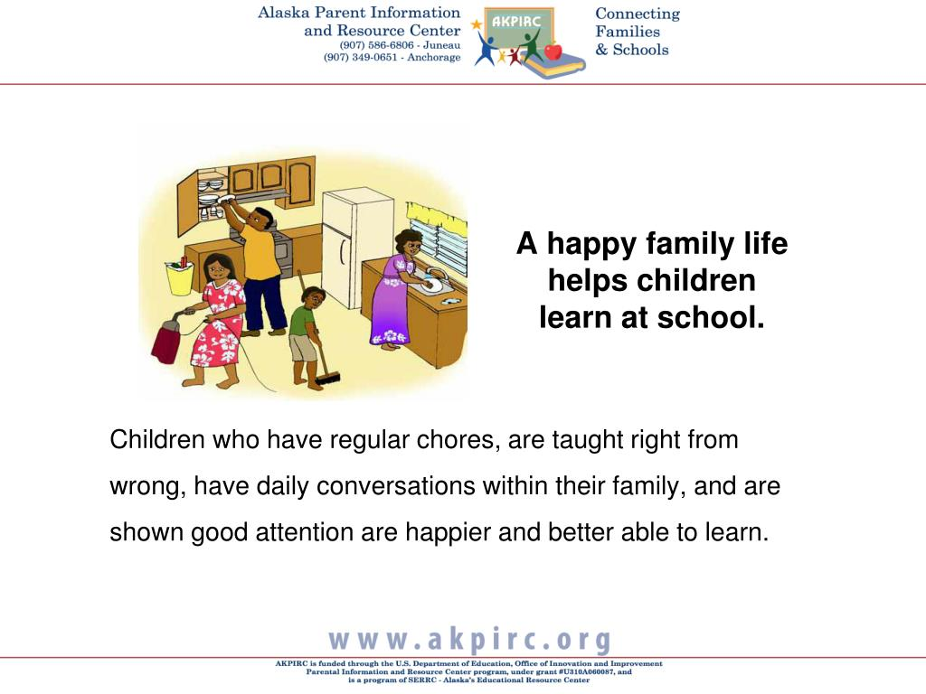 A happy family life helps children learn at school.