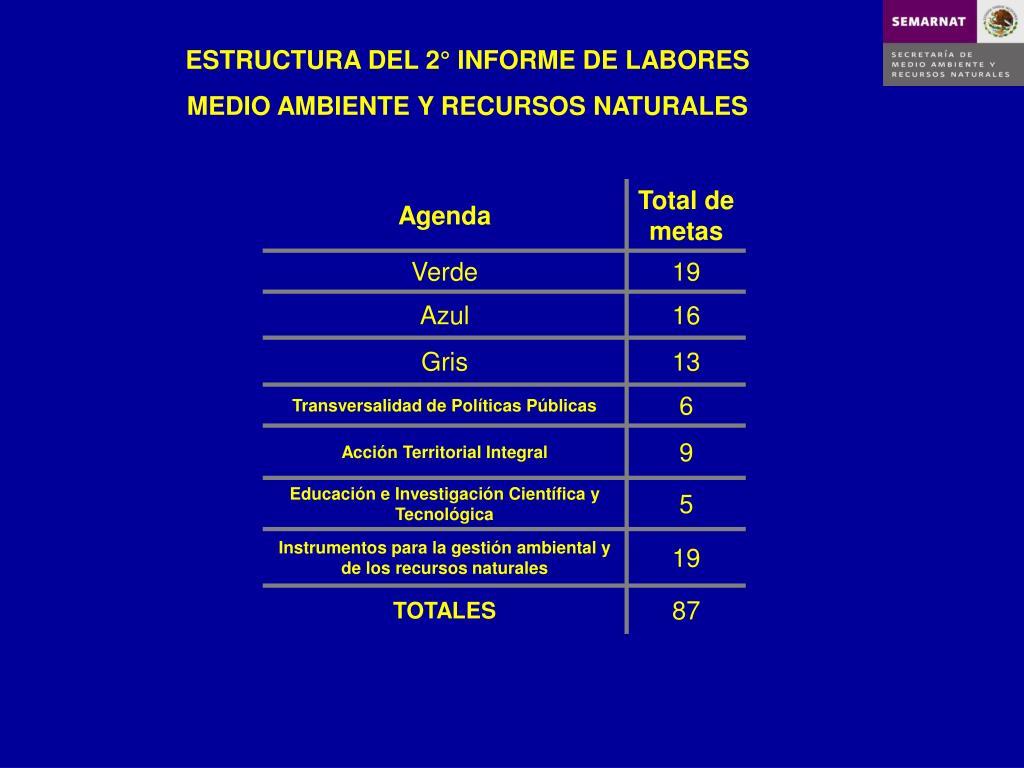 ESTRUCTURA DEL 2° INFORME DE LABORES