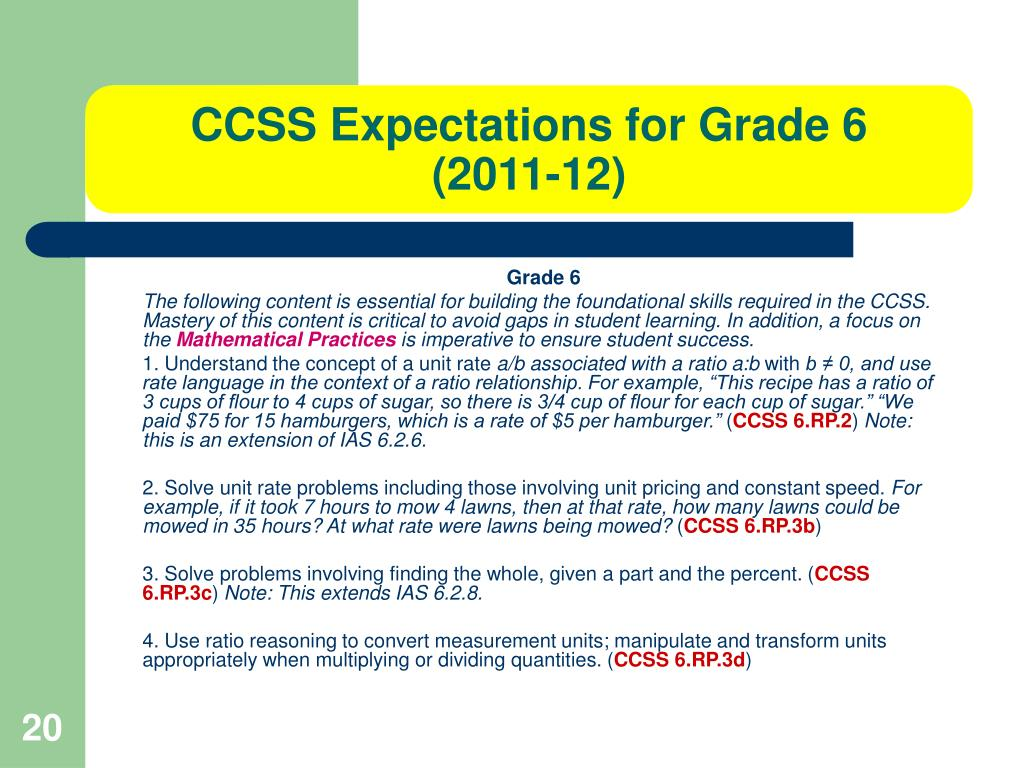 CCSS Expectations for Grade 6