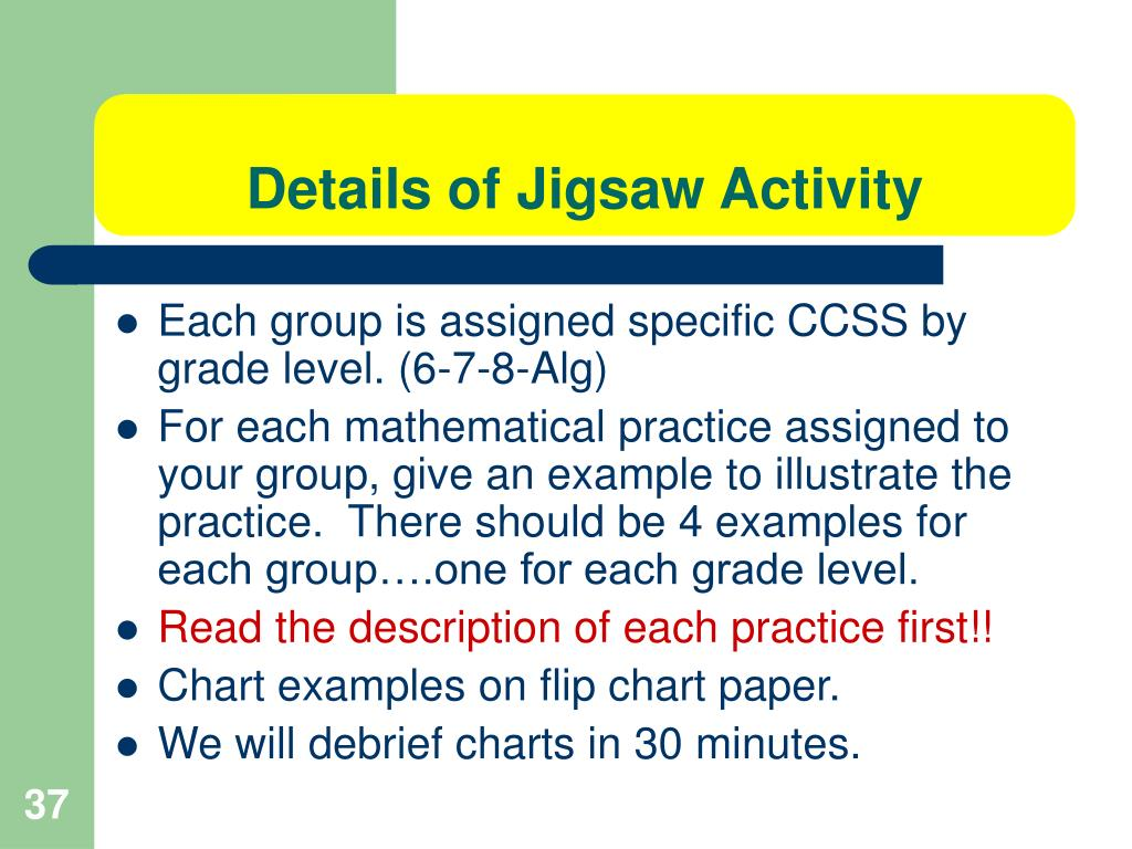 Details of Jigsaw Activity