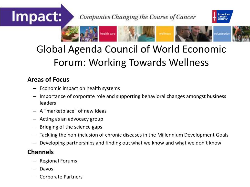 Global Agenda Council of World Economic Forum: Working Towards Wellness