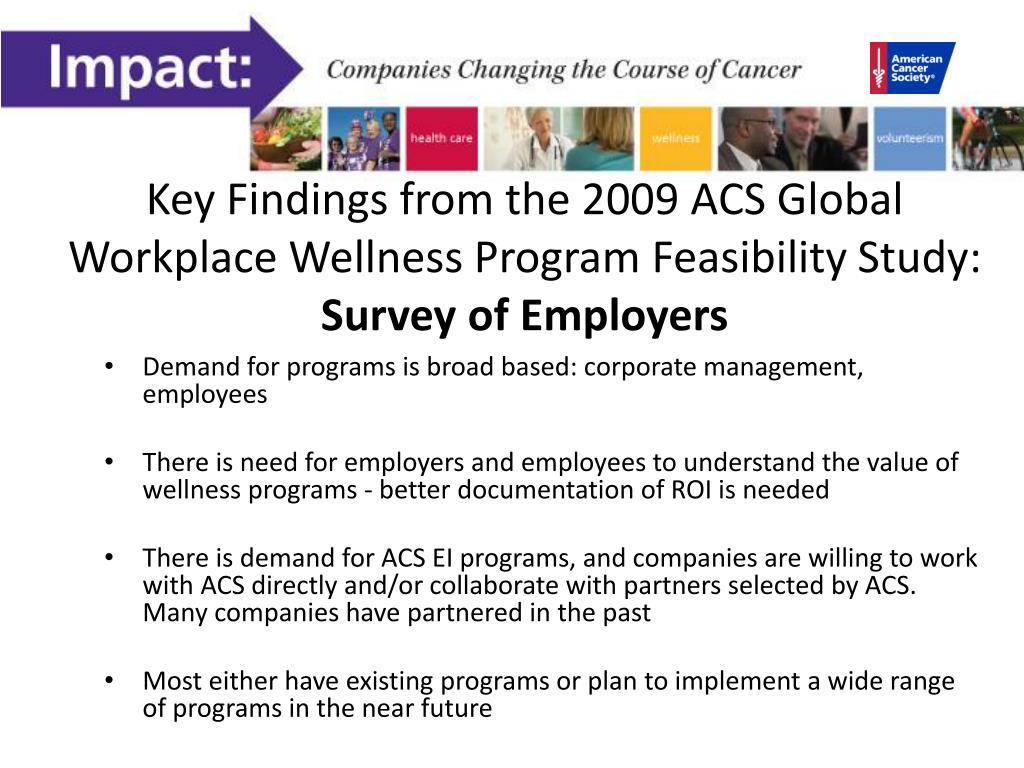 Key Findings from the 2009 ACS Global Workplace Wellness Program Feasibility Study: