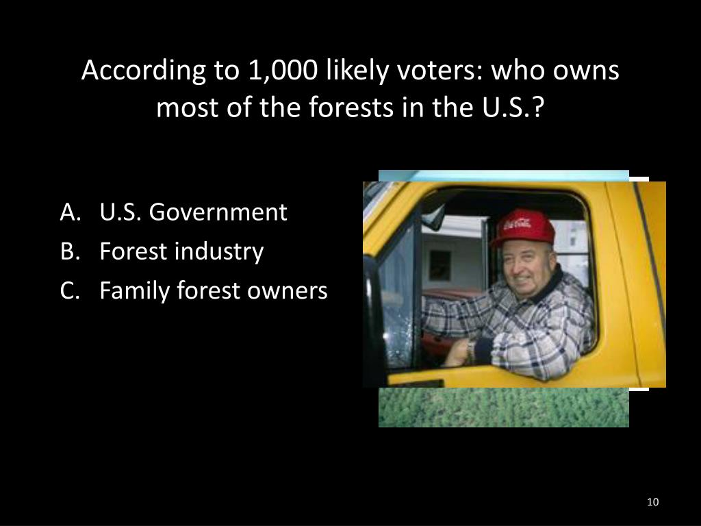 According to 1,000 likely voters: who owns most of the forests in the U.S.?
