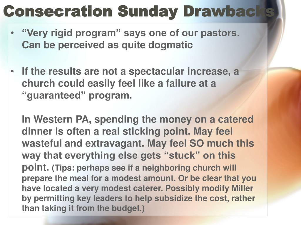 Consecration Sunday Drawbacks