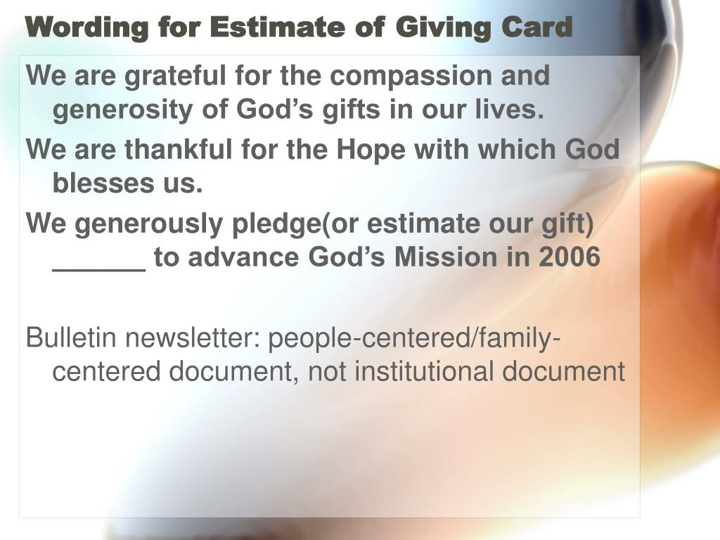 Wording for Estimate of Giving Card
