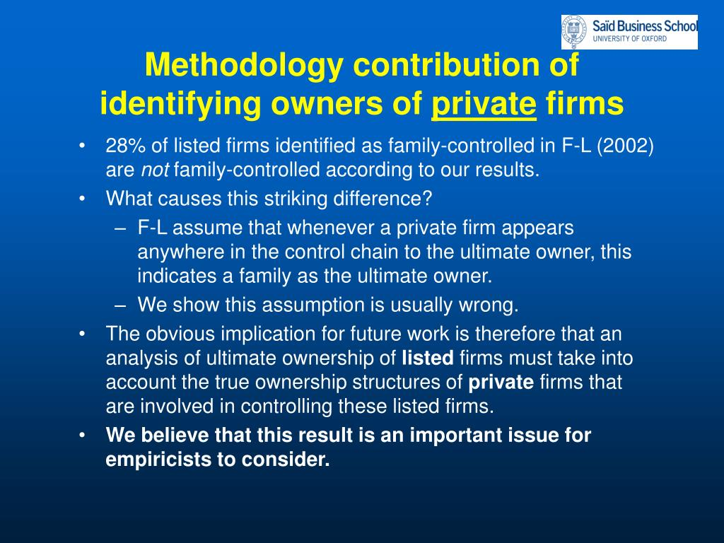 Methodology contribution of identifying owners of