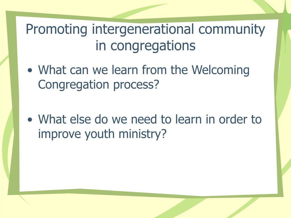 Promoting intergenerational community