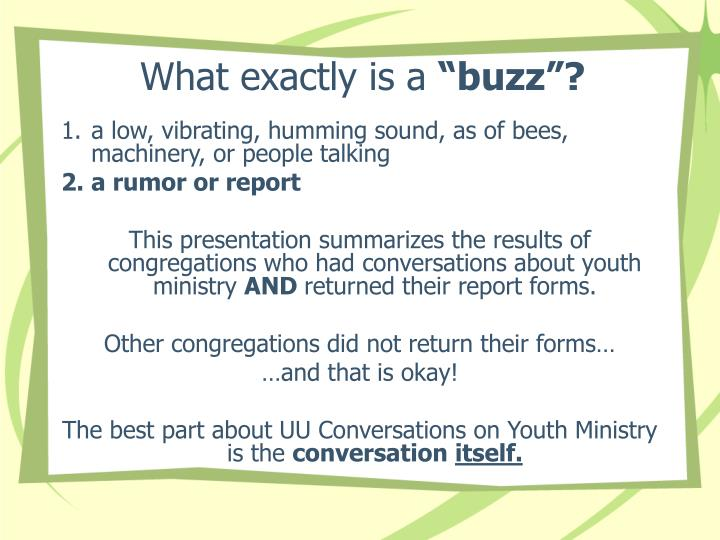 What exactly is a buzz