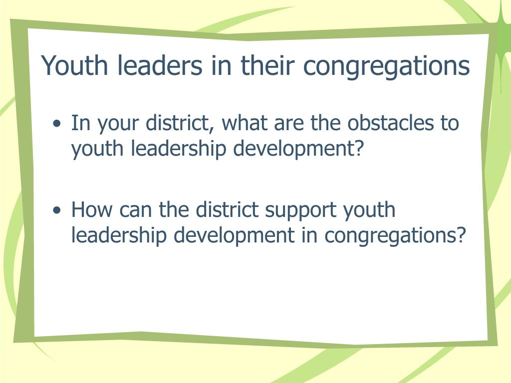 Youth leaders in their congregations